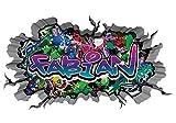 3D Wandtattoo Graffiti Wand Aufkleber Name FABIAN Wanddurchbruch sticker selbstklebend Wandbild Wandsticker Jungenddeko Kinderzimmer 11U013, Wandbild Größe F:ca. 97cmx57cm