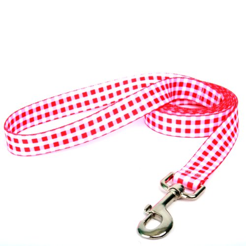"Yellow Dog Design, Gingham Red Dog Leash, Extra Small 3/8"" x 60"""