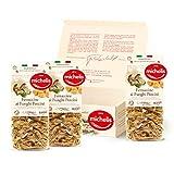Michelis - La Pasta Secca all'Uovo, Pasta Artigianale, Pasta Mista, Confezione Regalo Prodotti Italiani Prodotti Tipici Box Pasta Specialità Gastronomiche (3 Fettuccine Funghi)