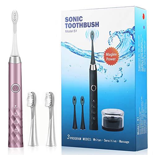 Elektrische Zahnbürste Wiederaufladbare Schalltechnologie 3 Reinigungs-Modi Induktives Laden Zahnbürste Elektrisch 31000 Bürstenkopfbewegungen 3 Aufsteckbürsten 2 Minuten Timer