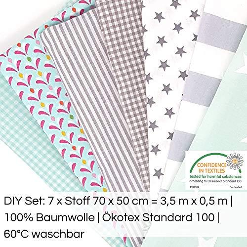Sugarapple Aus Deutschland: Baumwollstoff Stoffpaket für Patchwork DIY | 7 Stücke je 50 cm x 70 cm | gesamt 3,5 m x 70 cm | waschbar bei 60 °C | Stoff Mix Mint + Grau, Öko Tex Standard 100