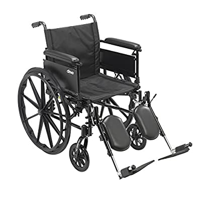 Drive Medical Cruiser X4 Lightweight Dual Axle Wheelchair with Adjustable Full Arms Seat with Elevating Leg Rests