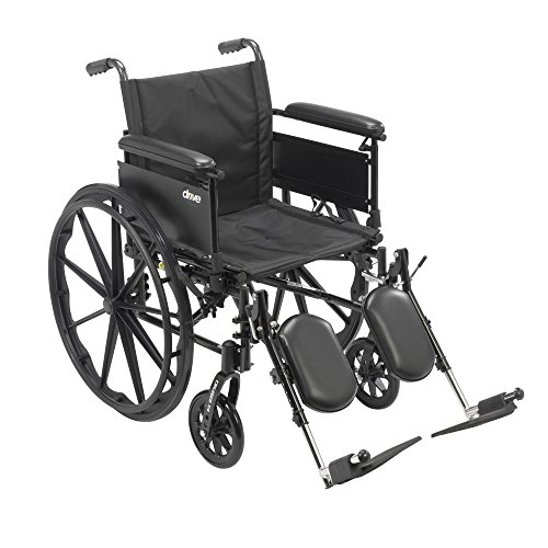 Drive Medical Cruiser X4 Lightweight Dual Axle Wheelchair with Adjustable Detachable Full Arms and Elevating Leg Rests, Silver Vein, 20', 1 Count