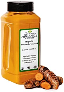 HQOExpress | Organic Turmeric Powder w/natural Curcumin | USDA Certified & Lab Tested | 21 oz. Chef Jar