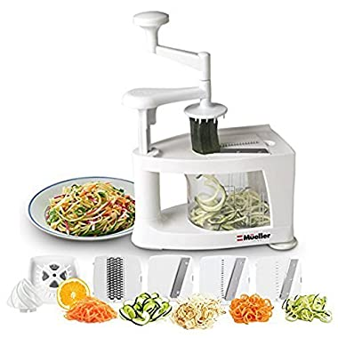 Mueller Spiral-Ultra 4-Blade Spiralizer, 8 into 1 Spiral Slicer, Heavy Duty Vegetable Pasta Maker and Mandoline Slicer for Low Carb/Paleo/Gluten-Free Meals