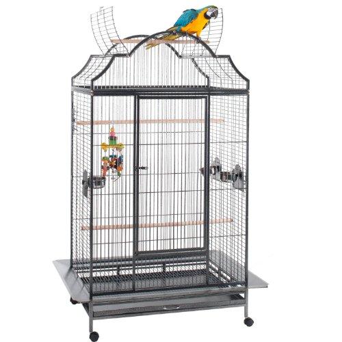 WorldStores Enterprise - Jaula para pájaros con apertura superior, 3 perchas, cuencos para loros