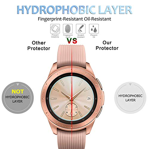 [4 Stück] Diruite für Samsung Galaxy Watch 42mm Panzerglas Schutzfolie, HD Glas Displayschutzfolie für Samsung Galaxy 42mm Intelligente Uhr [Anti-Kratzen] [Anti-Öl] [Keine-Blasenfrei]