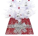 Christmas Concepts® Falda Base de Navidad con Cinta Decoraciones de Árbol de Navidad (Rojo/Plateado)