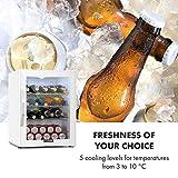 Klarstein Beersafe XL - Getränkekühlschrank, 60 Liter, C, 5 Kühlstufen: 3-10 °C, 42 dB, 2 flexible Metallböden, LED-Licht, Kühlschrank für Flaschen, Mini Bar, weiß - 7