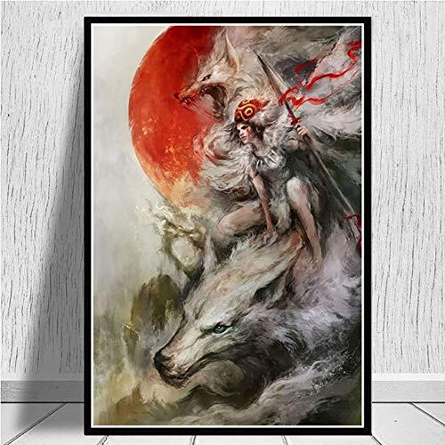 DQPCC Kunstdruck auf Leinwand Druck Bild Leinwand 1 Stück Prinzessin Mononoke Malerei Animation Poster Für Wohnzimmer Dekoration Wandkunst Rahmen (50X70 cm)
