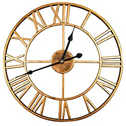 WIMHY Large Metal Wall Clock, Retro Iron Style, Silent and Tick-Free, 16-Inch (Bronze)