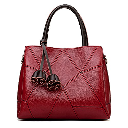 SDINAZ Bolsos de mano Mujer Bolsos bandolera Moda Cuero suave Bolsos totes Shoppers y bolsos de hombro Vino rojo