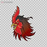 Vinyl Sticker Decal Angry Cock Rooster Head ATV Car Garage Bike 3 X 2.09 in.