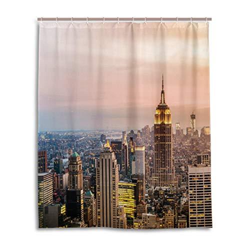 JSTEL Decor Duschvorhang New York City Wolkenkratzer Sonnenuntergang Muster Druck 100prozent Polyester Stoff Duschvorhang 152,4 x 182,9 cm für Home Bad Deko Duschvorhang