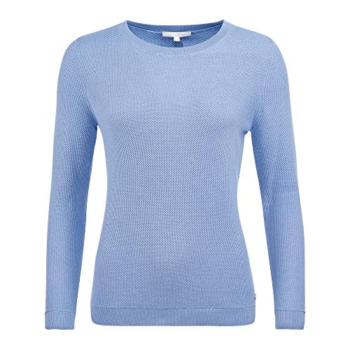 Tom Tailor Denim 1016521 21348 Damen Pullover in feinem Strick Armbündchen Uni, Groesse 42, hellblau