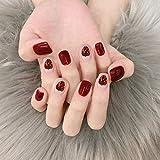 CSCH Uñas postizas 24 unids/set de puntas de uñas cuadradas cortas de verano dulce con para niñas uñas postizas con estampado de fresa roja linda para mujeres prensa de bricolaje
