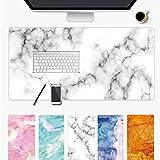Wudang Schreibtischunterlage Mauspad Gaming, 800*300 900*400 Rutschfeste Schreibtisch-maus-matte Laptop Wasserdichte Schreibtisch Pad Protector Schreibmatte Marmor Sternenhimmel (Weiß, 900*400*1.5mm)