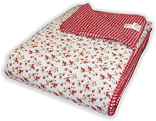 MERINO BETTEN Wende Tagesdecke Kuscheldecke Bettüberwurf Schlafdecke (Rot, 170 x 220 cm)