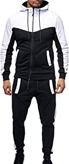 Mens Outfits Tracksuit 2PCS Set Patchwork Sweatshirt Jogger Sweatpants Summer T-Shirts Shorts Sports Suits