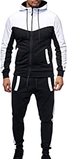 Sunward Men Clothing Set,Sports Suit Autumn Winter Packwork Sweatshirt Top Pants Sets Tracksuit