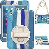 Coque pour iPad Mini 3/2/1, couleur arc-en-ciel, résistante aux chocs, robuste, support rotatif à...