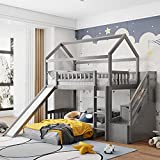 House Bed Bunk Beds with Slide , MERITLINE Wood Twin Bunk Bed with Stairs for Kids , House Bunk Beds with Roof and Two Drawers for Boys or Girls, No Box Spring Needed, Gray