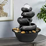 """PeterIvan Tabletop Waterfall Fountain Indoor with Lights - 11 2/5"""" 5-Tier Cascading Flowing Water Blows Zen LED Lighted Fountain with Electric Submersible Pump Features Vision&Audition Relaxing"""