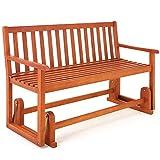 Balancelle de jardin en bois dur banc Fauteuil Balancoire meuble extérieur 125x60x90cm