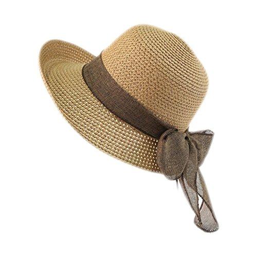 CAOLATOR Damen Strohhut Breite Krempe Sonnenhut Mit Brand Sommer Strand Hut UV Schutz Schlapphut für Outdoor-Aktivitäten (Khaki)