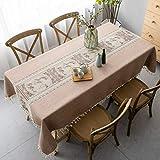 Pahajim Mantel Antimanchas Algodon Lino Elegante Impresos Manteles Resistente Borlas Table Cloth Exterior Rectangular Decorativo para Reuniones Familiares de Cocina(Marrón,140x220cm)