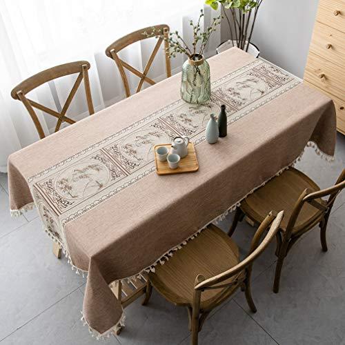 Pahajim Elegant Baumwolle Tischdecken im chinesischen Stil, Tischdeckenbezug Leinen Waschbar Tischdecke für Familientreffen Tischdekoration(Chinesischer Stil - Kaffee, Rechteckig/Oval, 140 x 220 cm)