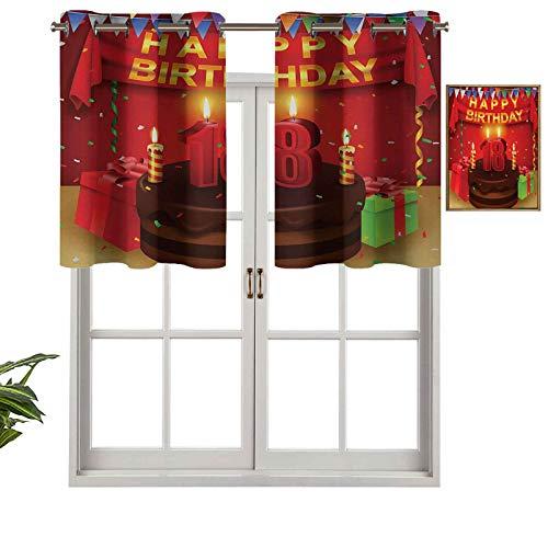 Hiiiman Sunshine - Cortina con cenefa de 18 cumpleaños con cortinas para tartas, globos, imagen de adulto (132 x 45,7 cm)