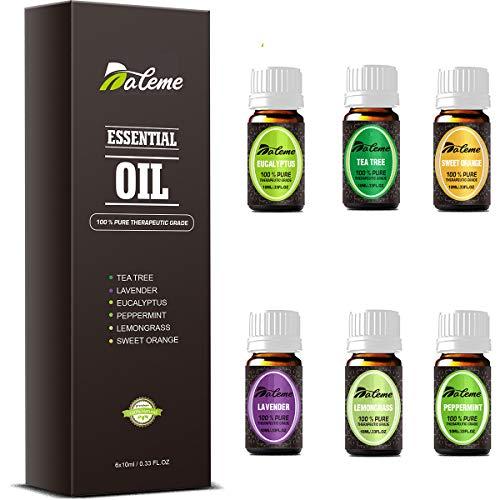Set de aceites esenciales-DALEME de grado terapéutico TOP6 100% puro aromaterapia aromática Lavanda/Hierba de Limón/Menta/Eucalipto/Árbol de té/Naranja dulce para Humidificador y Difusor Aroma