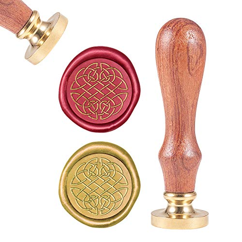 CRASPIRE Wax Seal Stamp Celtic Knot, Sealing Wax Stamps Retro Wood Stamp Wax Seal 25mm Removable Brass Head Wood Handle for Envelopes Invitations Wedding Embellishment Bottle Decoration