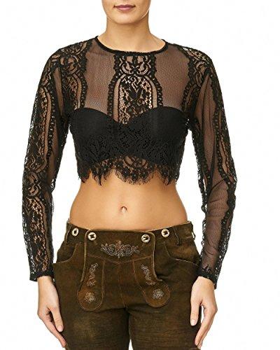 Lalia Bluse, Dirndlbluse, Kann auch ohne Dirndl getragen werden, schwarz Spitze, lange Ärmel, super modern, tolles Geschenk, kurze Bluse, extravagant, Tracht, Trachtenbluse (L)