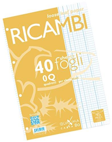Pigna 00629030Q, Ricambio non rinforzato, Rigatura 0Q, quadretti 5 mm con margine per 2° e 3° elementare, Carta 80g/mq, Pacco da 40 Fogli