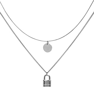 Dainty Layered Lock Necklace for Women - 14k Gold/Silver Plated Lock Pendant Adjustable Layered Choker Chain Necklace for ...