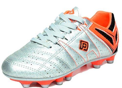 DREAM PAIRS Men's 160471-M Silver Orange Black Cleats Football Soccer Shoes - 10.5 M US