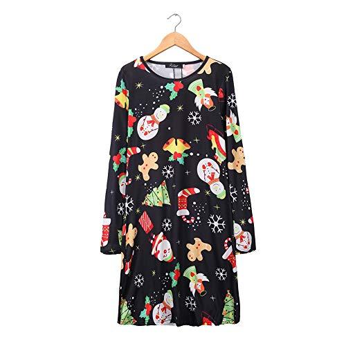 Wjf Europese en Amerikaanse jurken, Kerstmis casual eendelige bedrukte jurk vrouwen pakken lange mouwen volwassen kleding
