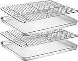 Umiten - Set di teglie e cremagliera [2 fogli + 2 scaffali], in acciaio inox con griglia di raffreddamento, non tossico e resistente e facile da pulire (40,6 x 30,5 x 2,5 cm)