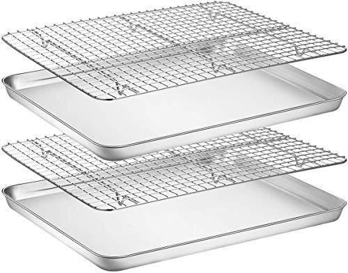 Umiten Backblech & Rack Set [2 Bleche + 2 Racks], Edelstahl-Backform mit Kühlregal, ungiftig & strapazierfähig & leicht zu reinigen