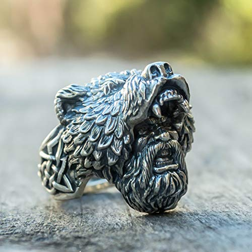SDFASD Color Plateado para Hombre Viking Bear Warrior Anillos De Motorista De Acero Inoxidable 316L Vintage Vikings Nordic Jewelry 13