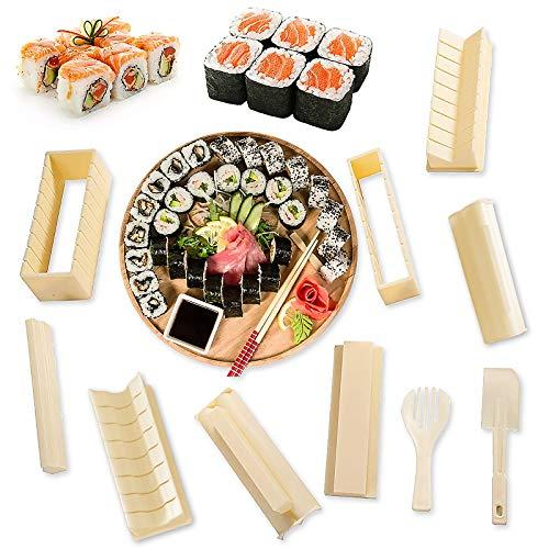 Sushi Making Kit for Beginners10pcs 10 Pieces DIY Plastic Sushi Maker Mold for Making Rice Roll Sushi Rolls DIY Plastic Sushi Maker Tool Beginners Complete Sushi Making Kit Set