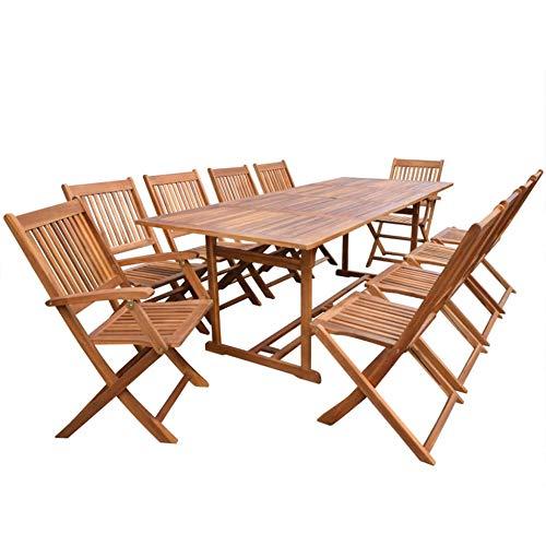 Hanper Gartenmöbel-Set aus Holz, Esstisch für den Außenbereich, aus massivem Akazienholz, 1 Tisch und 10 Stühle