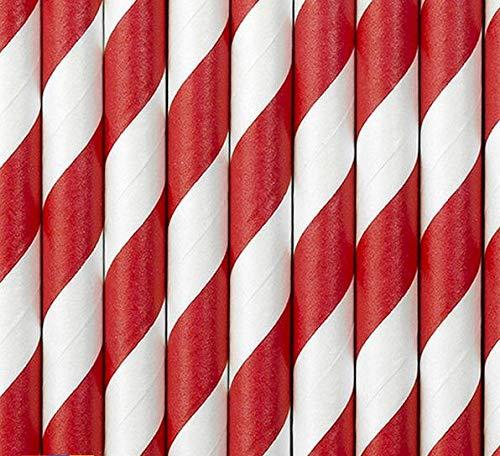 Set 10 Cannucce di Carta Spirale Rossa Lunga 19,5 cm - Paper Straws Righe Rosse Bianche Party