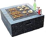 SXLCKJ Feuerstelle Schüssel Outdoor Feuerstelle Tisch Beton rund und Holz Feuerstelle 3 in 1 Kamin für B (Kamin)