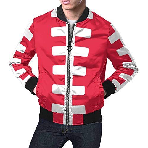 INTERESTPRINT Men's Zip Up Baseball Jacket Rugby Ball American Football Field Sports Light Red 4XL