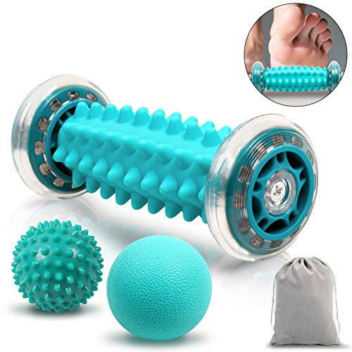 Rullo Massaggio Piedi, bastone per massaggio muscolare per fascite plantare, con punte e rullo per rullo muscolare, per alleviare i dolori muscolari, ridurre lo stress e rilassare tutto il corpo