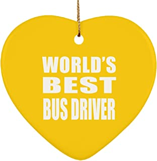 World's Best Bus Driver - Heart Ornament Christmas Tree Decor-ation - Gift for Friend Colleague Retirement Graduation Athletic Gold Birthday Anniversary Christmas Thanksgiving