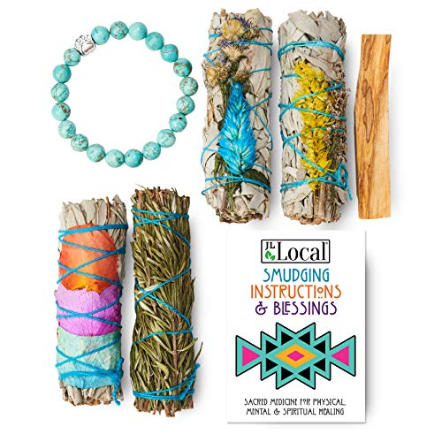 JL Local Fire Flowers Sage Smudging Kit - Smudge Kit with White Flower Sage, Rosemary, Palo Santo, Instructions & Turquoise Bracelet (Standard)